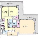 高知市九反田トップワン四国 中古マンション 22階 2LDK(間取)